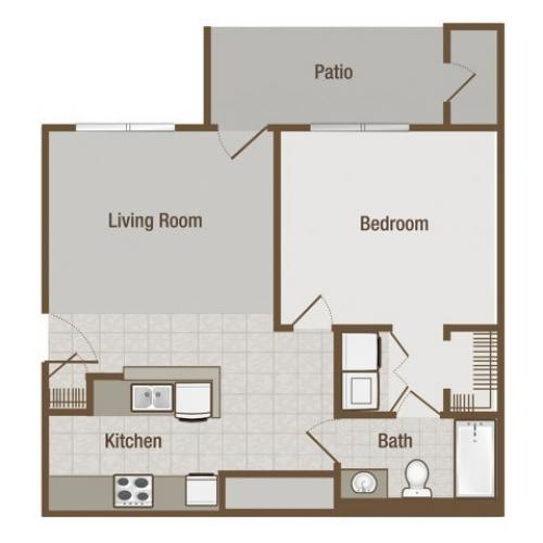 Picture is Bradford One Bedroom Floor Plan