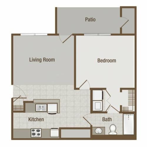 Picture is Bradford One Bedroom Floor Plan