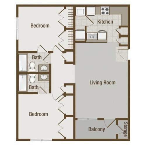 Picture is Chesnut Two Bedroom Floor Plan