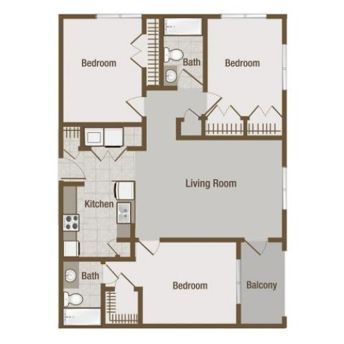 Picture is Mahogany Three Bedroom Floor Plan