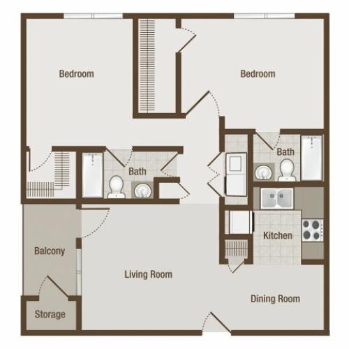 Picture is Carnegie Two Bedroom Floor Plan