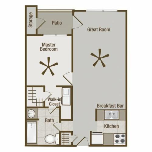 Picture is Metropolitan One Bedroom Floor Plan