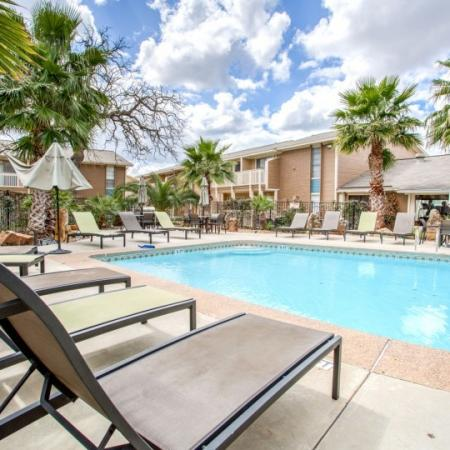 sparkling pool at student apartment complex