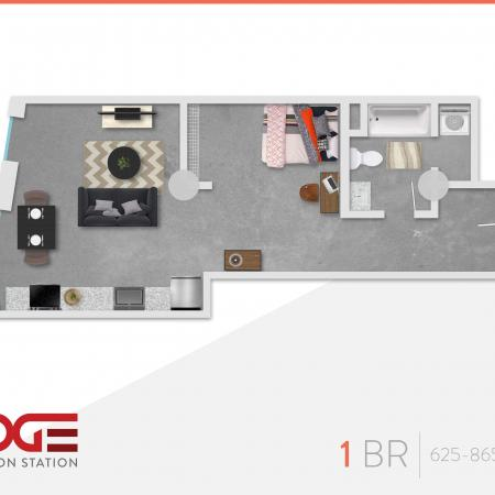 1 Bedroom Floor Plan | Vine 324