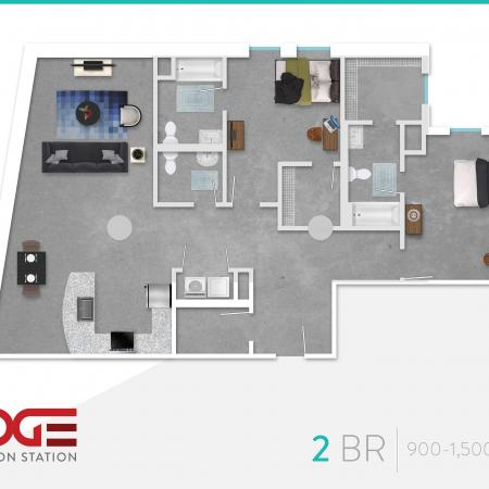 2 Bedroom Floor Plan | Vine 324