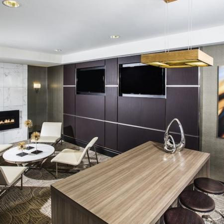 Resident Lounge with Fireplace and Televisions | Modera Fairfax Ridge