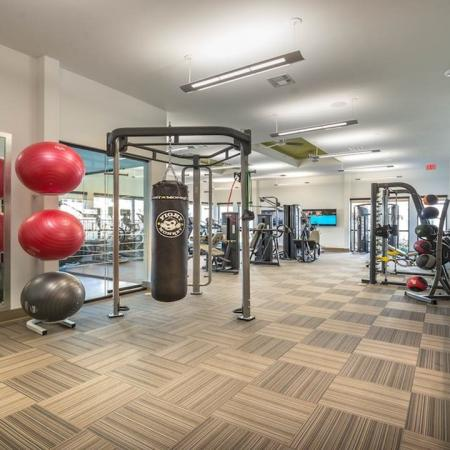 Punching Bag and Latest Fitness Equipment in Fitness Center | Modera Energy Corridor
