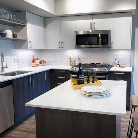 Modern Kitchen with Movable Island | Modera South Lake Union