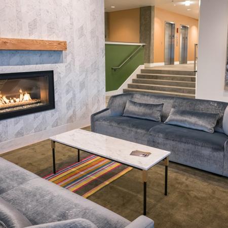 Fireplace in Resident Lounge | Modera South Lake Union