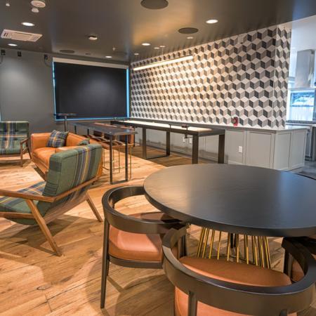 Resident Lounge Seating and Kitchen | Modera South Lake Union