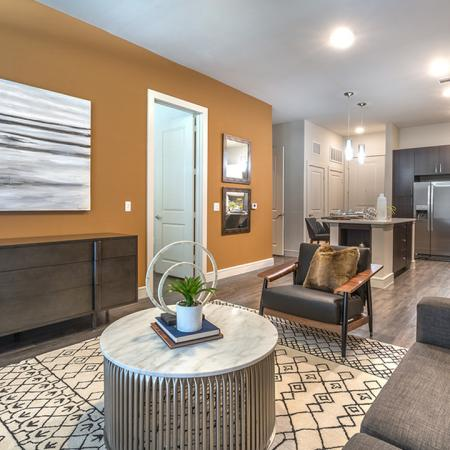 Open Living Room with View into Kitchen | Modera Near the Galleria