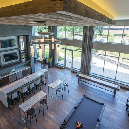 Gaming Lounge with Billiards and Shuffleboard | Modera Medford