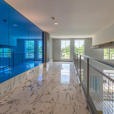 Unique Blue Wall Above Clubhouse | Modera Medford