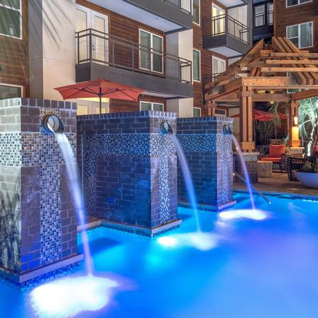 Water Features in Pool and Outdoor Lounge | Modera Near the Galleria
