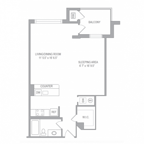 Studio Floor Plan | Arlington VA Apartments | Courtland Towers