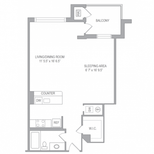 Studio Floor Plan | Arlington VA Apartments | Courtland Towers 1