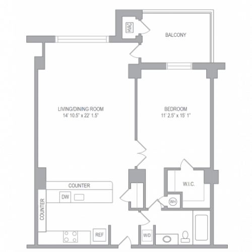 Floor Plan 1 | Apartments In Arlington VA | Courtland Towers