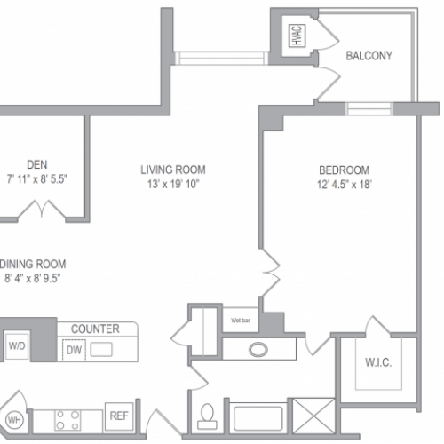 1 Bdrm Floor Plan | Luxury Apartments In Arlington VA | Courtland Towers