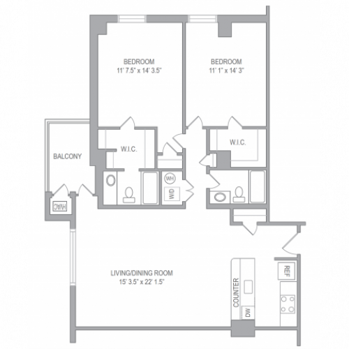 2 Bdrm Floor Plan | Arlington Apartments | Courtland Towers