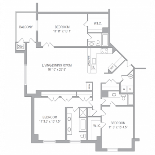Floor Plan 4 | Apartments In Arlington VA | Courtland Towers