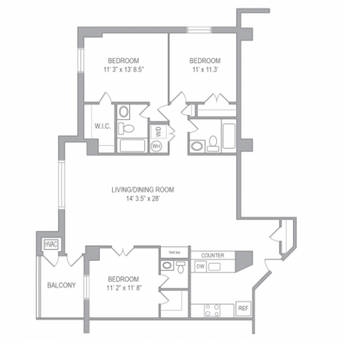 Floor Plan 5 | Apartments In Arlington | Courtland Towers
