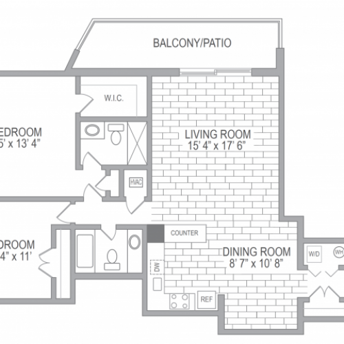 2x2 Floor Plan, Showcasing Residence 19 Units