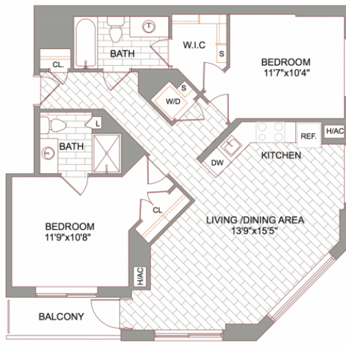 2x2 Furnished Floor Plan